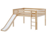 Maxtrix AMAZING Low Loft Bed with Slide Full Size Natural | Maxtrix Furniture | MX-AMAZING-NX