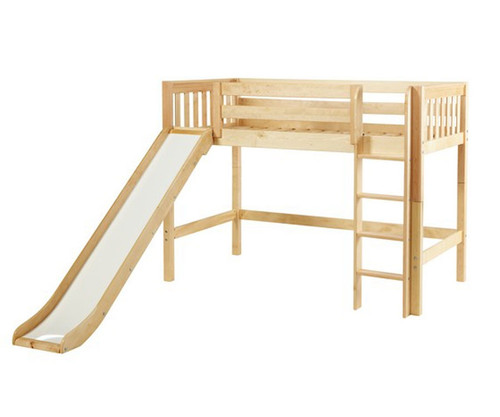 Maxtrix AWESOME Mid Loft Bed with Slide Twin Size Natural | Maxtrix Furniture | MX-AWESOME-NX