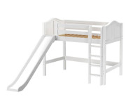 Maxtrix AWESOME Mid Loft Bed with Slide Twin Size White | Maxtrix Furniture | MX-AWESOME-WX
