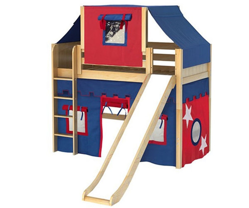 Maxtrix AWESOME Mid Loft Bed with Tent & Slide Twin Size Natural | Maxtrix Furniture | MX-AWESOME21-NX