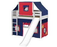 Maxtrix AWESOME Mid Loft Bed with Tent & Slide Twin Size White | Maxtrix Furniture | MX-AWESOME21-WX