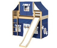 Maxtrix AWESOME Mid Loft Bed with Tent & Slide Twin Size Natural 1 | Maxtrix Furniture | MX-AWESOME22-NX
