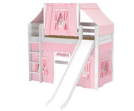 Maxtrix AWESOME Mid Loft Bed with Tent & Slide Twin Size White 2 | Maxtrix Furniture | MX-AWESOME23-WX