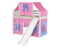 Maxtrix AWESOME Mid Loft Bed with Tent & Slide Twin Size White 4 | Maxtrix Furniture | MX-AWESOME28-WX