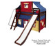 Maxtrix AWESOME Mid Loft Bed with Tent & Slide Twin Size Chestnut 1 | Maxtrix Furniture | MX-AWESOME29-CX