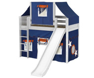 Maxtrix AWESOME Mid Loft Bed with Tent & Slide Twin Size White 7 | Maxtrix Furniture | MX-AWESOME42-WX
