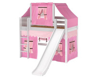 Maxtrix AWESOME Mid Loft Bed with Tent & Slide Twin Size White 8 | Maxtrix Furniture | MX-AWESOME73-WX