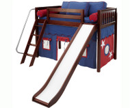 Maxtrix Mid-Height Loft Bed with Slide and Curtains - Chestnut | Matrix Furniture | MX-AWSOME-CX