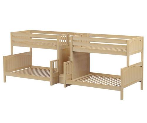 Maxtrix BIGBANG Quadruple Bunk Bed with Stairs Twin over Full Size Natural | Maxtrix Furniture | MX-BIGBANG-NX