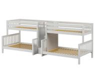 Maxtrix BIGBANG Quadruple Bunk Bed with Stairs Twin over Full Size White | Maxtrix Furniture | MX-BIGBANG-WX
