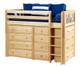 Maxtrix BLING Mid Loft Bed w/ Dressers Twin Size Chestnut | Maxtrix Furniture | MX-BLING-CX
