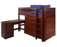Maxtrix BLING Mid Loft Bed w/ Dressers and Desk Twin Size Chestnut | Maxtrix Furniture | MX-BLING1L-CX