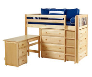 Maxtrix BLING Mid Loft Bed w/ Dressers and Desk Twin Size Natural | Maxtrix Furniture | MX-BLING1L-NX