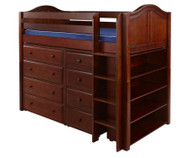 Maxtrix BLING Mid Loft Bed w/ Dressers & Bookcase Twin Size Chestnut | Maxtrix Furniture | MX-BLING2-CX