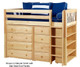 Maxtrix BLING Mid Loft Bed w/ Dressers & Bookcase Twin Size White | Maxtrix Furniture | MX-BLING2-WX