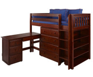 Maxtrix BLING Mid Loft Bed w/ Storage and Desk Twin Size Chestnut | Maxtrix Furniture | MX-BLING3L-CX
