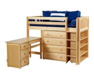 Maxtrix BLING Mid Loft Bed w/ Storage and Desk Twin Size Natural | Maxtrix Furniture | MX-BLING3L-NX