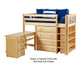 Maxtrix BLING Mid Loft Bed w/ Storage and Desk Twin Size Natural | Maxtrix Furniture | MX-BLING3L-NX