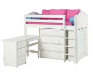 Maxtrix BLING Mid Loft Bed w/ Storage and Desk Twin Size White | Maxtrix Furniture | MX-BLING3L-WX