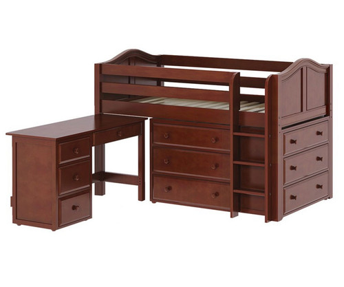 Maxtrix BOX Storage Low Loft Bed with Desk Twin Size Chestnut 1 | Maxtrix Furniture | MX-BOX1L-CX
