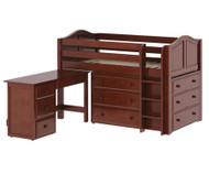 Maxtrix BOX Storage Low Loft Bed with Desk Twin Size Chestnut 1 | Maxtrix Furniture | MX-BOX1L-CX