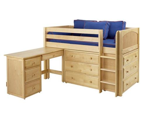 Maxtrix BOX Storage Low Loft Bed with Desk Twin Size Natural | Maxtrix Furniture | MX-BOX1L-NX