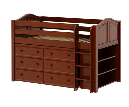 Maxtrix BOX Low Loft Bed w/ Dresser & Bookcase Twin Size Chestnut | Maxtrix Furniture | MX-BOX2-CX