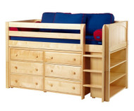Maxtrix BOX Low Loft Bed w/ Dresser & Bookcase Twin Size Natural | Maxtrix Furniture | MX-BOX2-NX