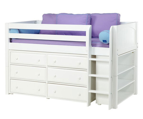 Maxtrix BOX Low Loft Bed w/ Dresser & Bookcase Twin Size White | Maxtrix Furniture | MX-BOX2-WX