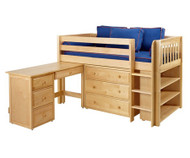 Maxtrix BOX Low Loft Bed w/ Storage & Desk Twin Size Natural | Maxtrix Furniture | MX-BOX3L-NX
