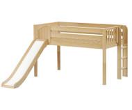 Maxtrix BRAINY Low Loft Bed with Slide Twin Size Natural | Maxtrix Furniture | MX-BRAINY-NX