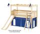 Maxtrix CAMELOT Castle Low Loft Bed with Slide Twin Size Natural | Maxtrix Furniture | MX-CAMELOT7-NX