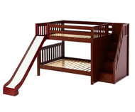 Maxtrix CELEBRATE Medium Bunk Bed with Stairs and Slide Full Size Chestnut | Maxtrix Furniture | MX-CELEBRATE-CX