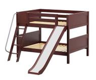 Maxtrix CLIFF Low Bunk Bed w/ Slide Full Size Chestnut | Maxtrix Furniture | MX-CLIFF-CX