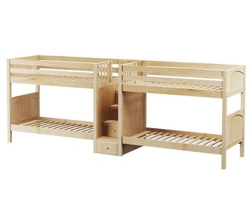Maxtrix COOL Quadruple Medium Bunk Bed with Stairs Twin Size Natural | Maxtrix Furniture | MX-COOL-NX