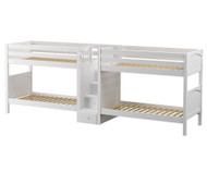 Maxtrix COOL Quadruple Medium Bunk Bed with Stairs Twin Size White | Maxtrix Furniture | MX-COOL-WX