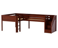 Maxtrix COUPLET Corner Low Loft Bed Full Size Chestnut | Maxtrix Furniture | MX-COUPLET-CX