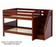 Maxtrix DAPPER Low Bunk Bed with Stairs Full Size Natural | Maxtrix Furniture | MX-DAPPER-NX
