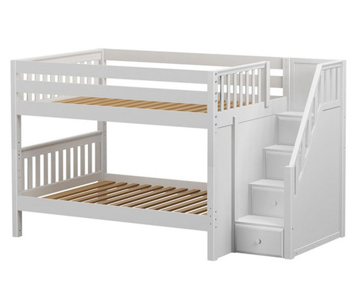 Maxtrix DAPPER Low Bunk Bed with Stairs Full Size White | Maxtrix Furniture | MX-DAPPER-WX
