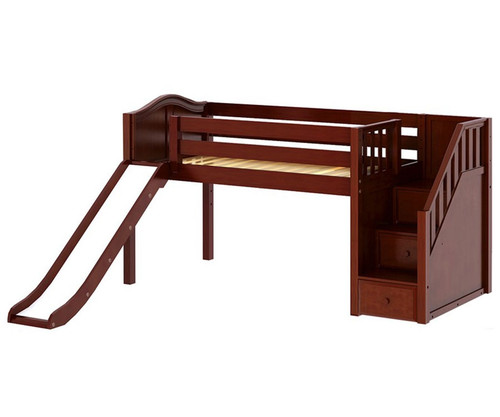 Maxtrix DELICIOUS Low Loft Bed with Stairs & Slide Twin Size Chestnut | Maxtrix Furniture | MX-DELICIOUS-CX