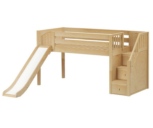 Maxtrix DELICIOUS Low Loft Bed with Stairs & Slide Twin Size Natural | Maxtrix Furniture | MX-DELICIOUS-NX