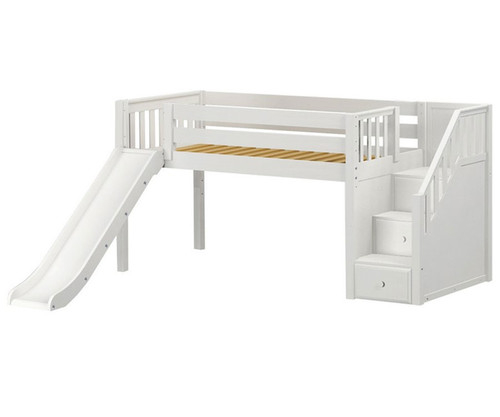 Maxtrix DELICIOUS Low Loft Bed with Stairs & Slide Twin Size White   Maxtrix Furniture   MX-DELICIOUS-WX