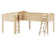 Maxtrix DOUBLE Corner Low Loft Bed Twin Size Natural | Maxtrix Furniture | MX-DOUBLE-NX