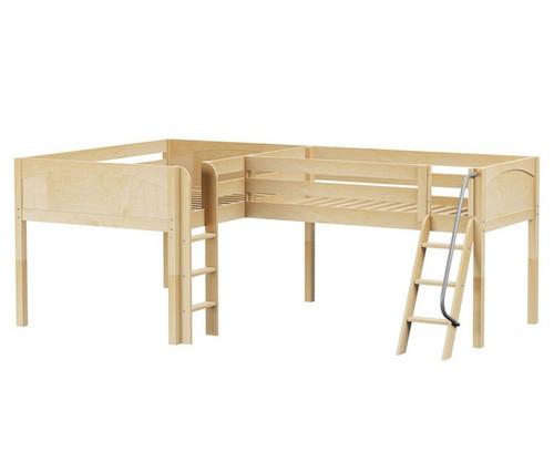 Maxtrix DUET Corner Low Loft Bed Full Size Natural   Maxtrix Furniture   MX-DUET-NX