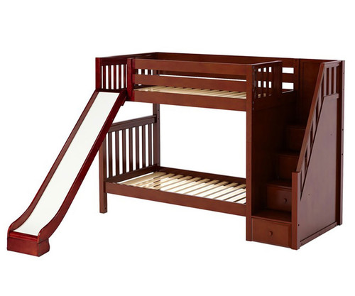 Maxtrix ECSTATIC Medium Bunk Bed with Stairs and Slide Twin Size Chestnut | Maxtrix Furniture | MX-ECSTATIC-CX