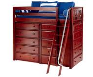 Maxtrix EMPEROR High Loft Bed Twin Size Chestnut   Maxtrix Furniture   MX-EMPEROR-CX
