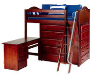 Maxtrix EMPEROR High Loft Bed with Desk Twin Size Chestnut | Maxtrix Furniture | MX-EMPEROR1L-CX