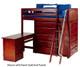 Maxtrix EMPEROR High Loft Bed with Desk Twin Size Chestnut   26239   MX-EMPEROR1L-CX