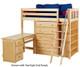 Maxtrix EMPEROR High Loft Bed with Desk Twin Size Natural   26241   MX-EMPEROR3L-NX