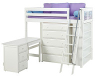 Maxtrix EMPEROR High Loft Bed with Desk Twin Size White | Maxtrix Furniture | MX-EMPEROR3L-WX